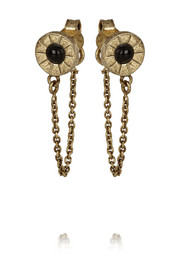 Iris brass-plated onyx stud and chain earrings