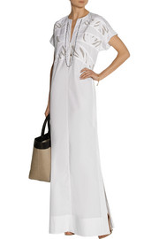 Paneled cotton maxi dress