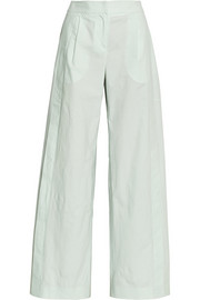 Pleated cotton wide-leg pants