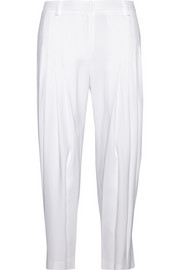 Pleated crepe tapered pants