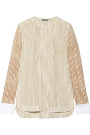 Cotton-trimmed striped silk blouse