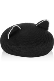 Caterina pearl-embellished woven hat