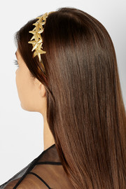 Stelle gold-tone and leather starfish headband