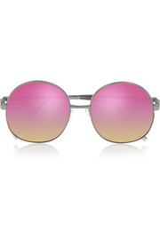 Illesteva Alina round-frame metal mirrored sunglasses