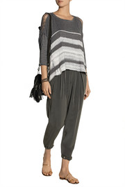 Raquel Allegra Shredded striped cotton-blend jersey top
