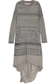 Shredded tie-dyed cotton-blend jersey dress