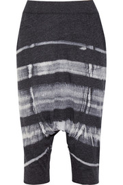 Cropped tie-dyed cotton-blend jersey pants