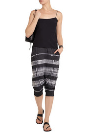 Raquel Allegra Cropped tie-dyed cotton-blend jersey pants