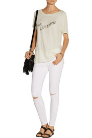 Raquel Allegra Printed distressed slub cotton-jersey T-shirt