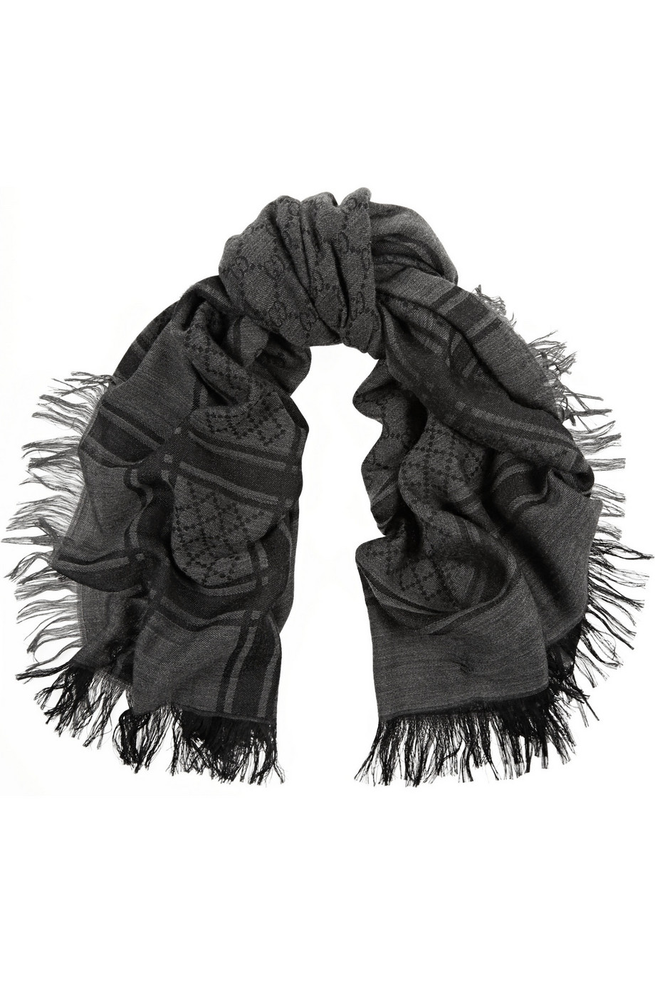Gucci Survie Wool and Silk-Blend Scarf, Charcoal, Women's