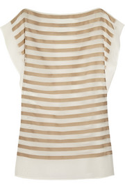 Gucci Gaephon striped silk-and cotton-blend coverup