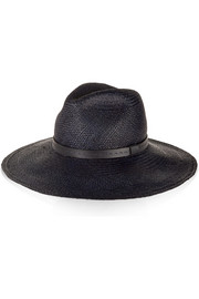 Gucci Brisa leather-trimmed straw fedora