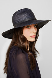 Brisa leather-trimmed straw fedora