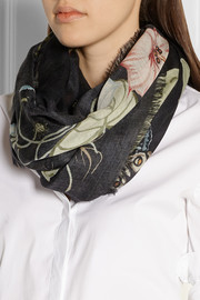 Gucci Flora Knight wool and silk-blend scarf