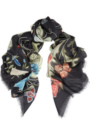 Flora Knight wool and silk-blend scarf