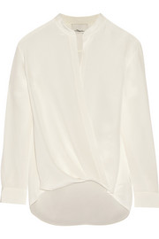 Draped silk crepe de chine wrap top