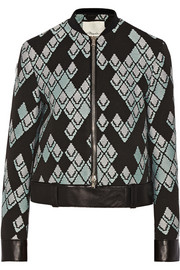 Leather-trimmed jacquard jacket