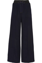 Wool-piqué wide-leg pants