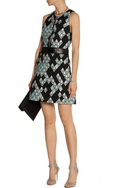 Leather-trimmed jacquard mini dress