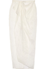 Wrap-effect linen and silk-blend maxi skirt