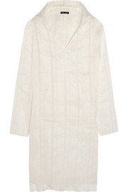 Hooded linen and silk-blend tunic