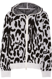 Leopard-patterned cashmere hooded top