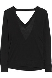 Cutout wool, cashmere and silk-blend sweater