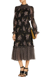 Michael Kors Floral-print silk-chiffon midi dress