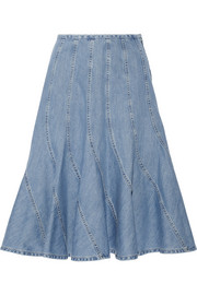Fluted denim skirt