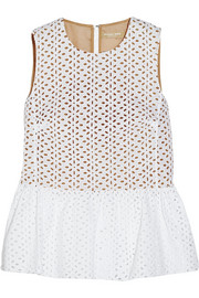 Michael Kors Broderie anglaise cotton peplum top