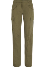 Metallic cotton cargo pants