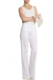 Michael Kors Crinkled cotton-blend wide-leg pants