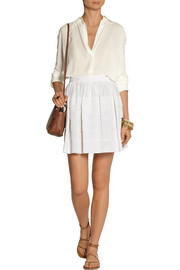 Michael Kors Pleated cotton mini skirt