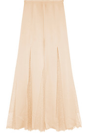 Lace-paneled satin maxi skirt