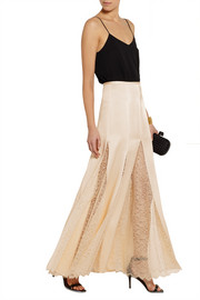 Michael Kors Lace-paneled satin maxi skirt