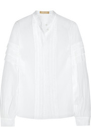 Pleated cotton-gauze shirt