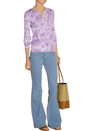 Michael Kors Tie-dyed ribbed cotton-jersey top
