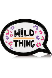 Wild Thing embroidered leather clutch