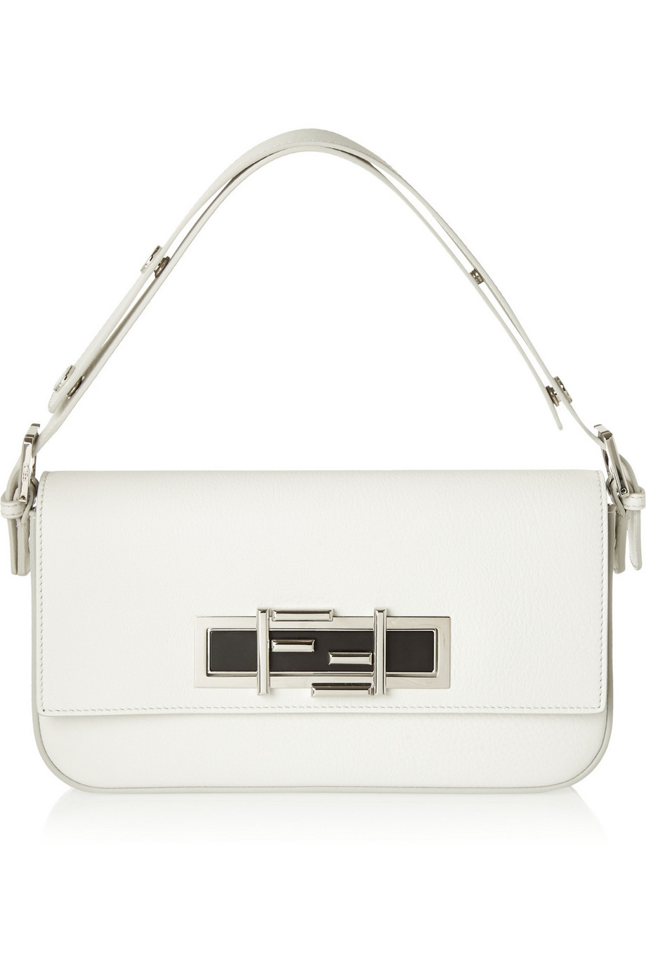 Fendi Baguette Leather Shoulder Bag, White, Women's, Size: One Size