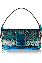 Baguette sequin-embellished silk shoulder bag
