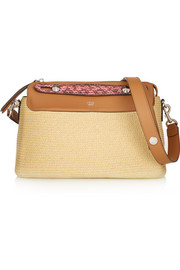 By The Way small elaphe and leather-trimmed raffia shoulder bag