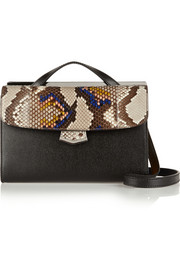 Fendi Demi Jours small python and textured-leather shoulder bag