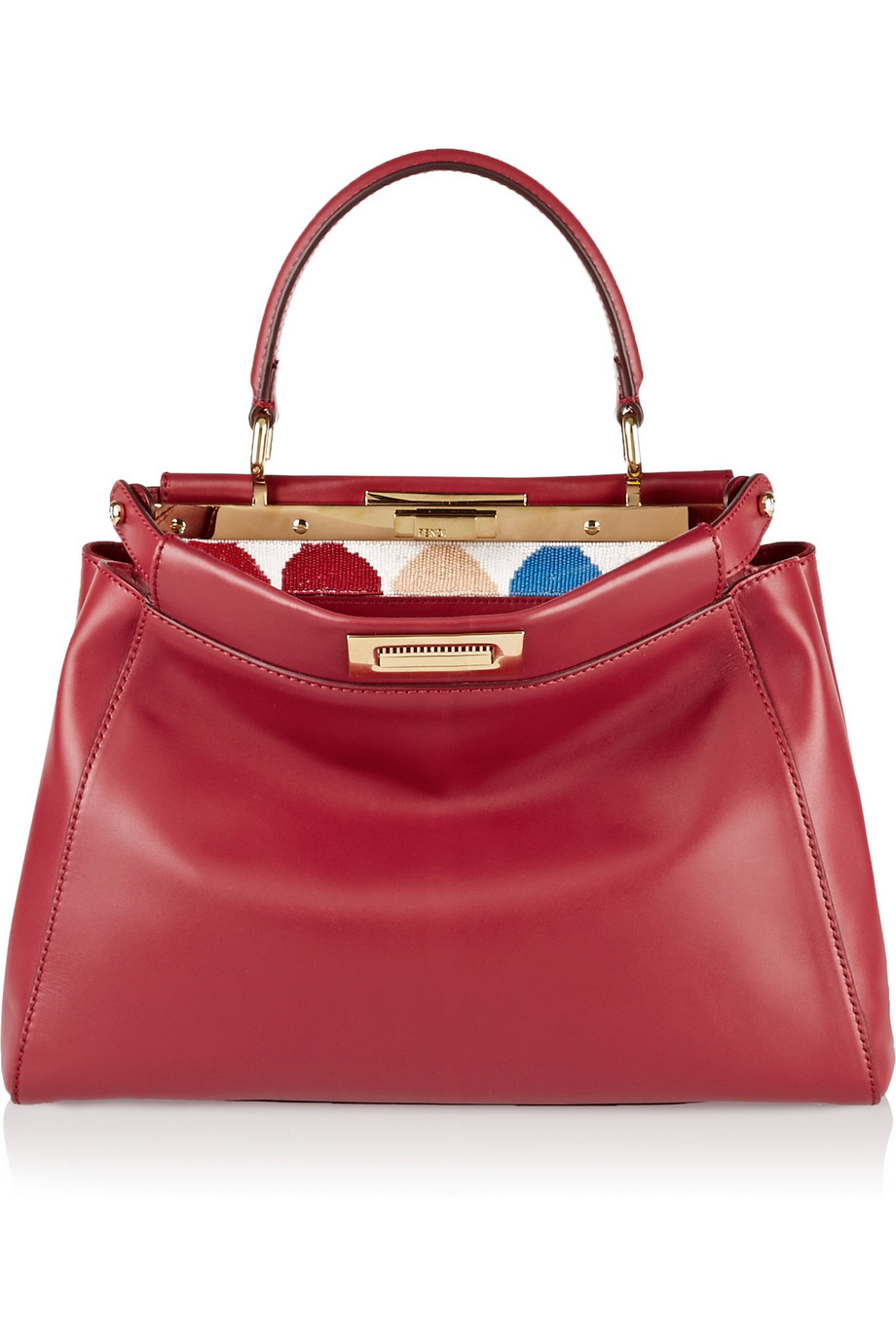 Fendi Peekaboo Medium Leather Tote, Red, Women's, Size: One Size