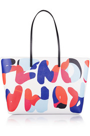 Roll printed textured-leather tote