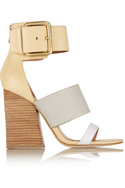 Poker color-block leather sandals