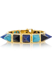 Gold-plated multi-stone pyramid bracelet