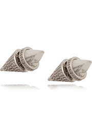 Silver-plated, cubic zirconia and howlite cone earrings