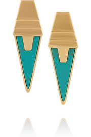 Gold-plated turquoise earrings