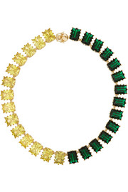 Estate gold-plated crystal necklace