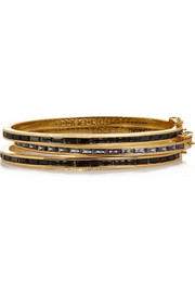 Set of three gold-plated, cubic zirconia and enamel bracelets